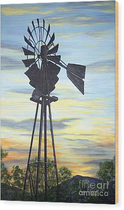 Wood Print featuring the painting Windmill Capture The Wind by Judy Filarecki