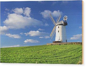 Windmill Wood Print by Drew McAvoy