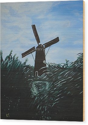 Windmill In Amsterdam Wood Print