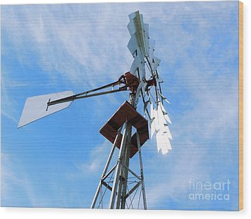 Wood Print featuring the photograph Windmill - Mildly Cloudy Day by Ray Shrewsberry