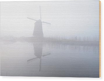 Wood Print featuring the photograph Windmill Reflection by Phyllis Peterson