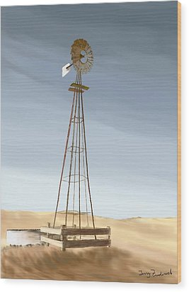 Windmill Wood Print by Terry Frederick