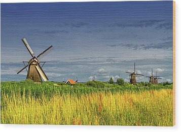Windmills In Kinderdijk, Holland, Netherlands Wood Print by Elenarts - Elena Duvernay photo