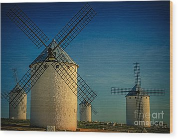 Wood Print featuring the photograph Windmills Under Blue Sky by Heiko Koehrer-Wagner