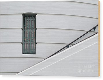 Window And Rail Wood Print by Dan Holm