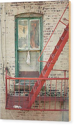 Window And Red Fire Escape Wood Print by Gary Heller