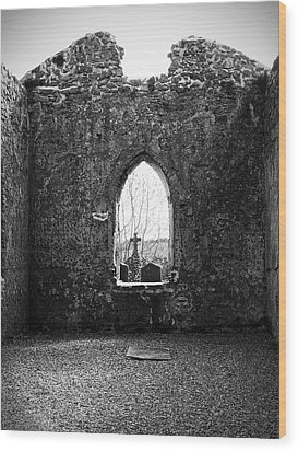 Window At Fuerty Church Roscommon Ireland Wood Print