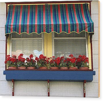 Window Box Geraniums Wood Print by Colleen Kammerer
