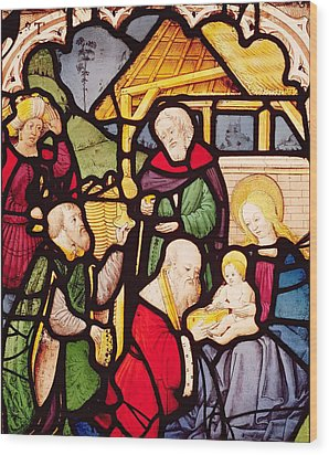 Window Depicting The Adoration Of The Magi Wood Print by French School
