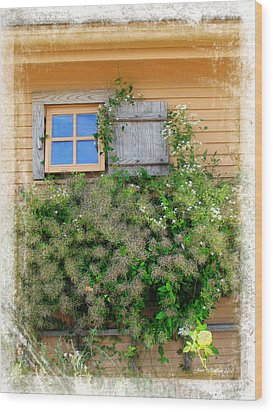 Wood Print featuring the photograph Window Floral In Plymouth by Joan  Minchak