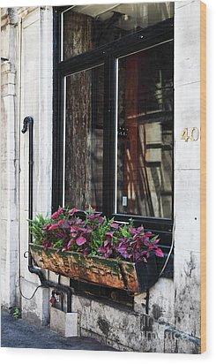 Window Flowers Wood Print by John Rizzuto