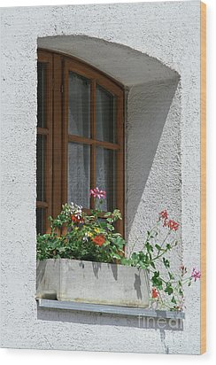 Window In Zermatt Wood Print by Christine Amstutz