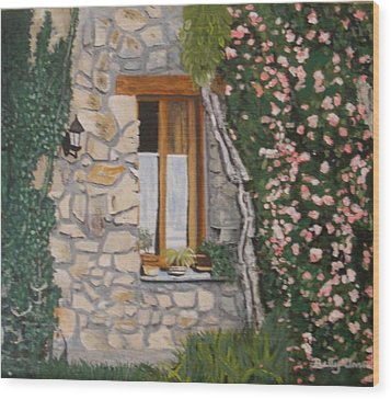 Wood Print featuring the painting Window Ledge  France by Betty-Anne McDonald