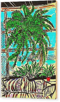Window Loving Fern Wood Print by Al Goldfarb