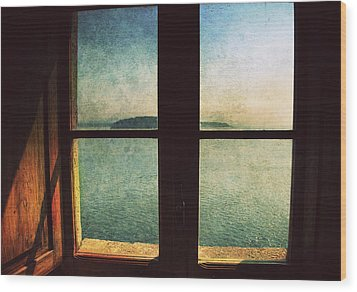 Window Overlooking The Sea Wood Print by Vittorio Chiampan