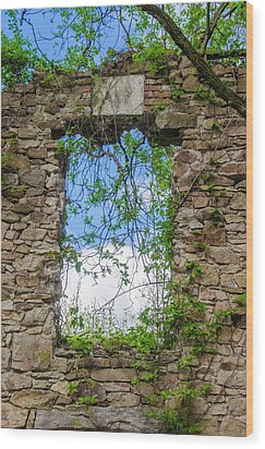Wood Print featuring the photograph Window Ruin At Bridgetown Millhouse Bucks County Pa by Bill Cannon