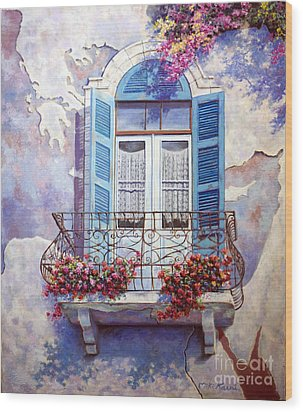 Window To The Mediterranean Wood Print