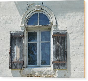 Window With Shutters Wood Print by Marion McCristall