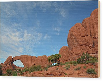 Wood Print featuring the photograph Windows Arches With Wispy Clouds by Bruce Gourley