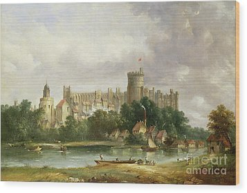 Windsor Castle - From The Thames Wood Print by Alfred Vickers