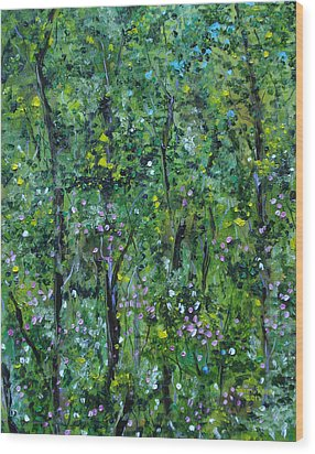 Wood Print featuring the painting Windsor Way Woods by Judith Rhue