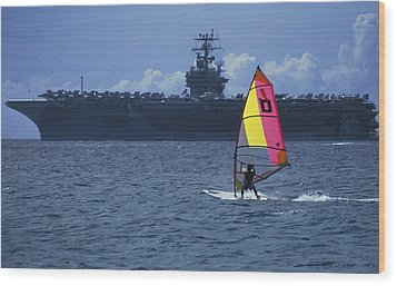 Wood Print featuring the photograph Windsurfer And Aircraft Carrier by Carl Purcell