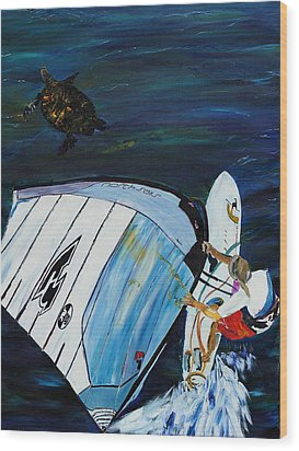 Windsurfer And Sea Turtle Wood Print by Impressionism Modern and Contemporary Art  By Gregory A Page