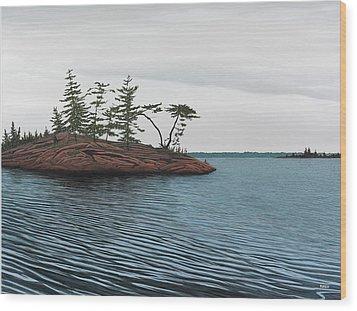 Windswept Island Georgian Bay Wood Print by Kenneth M  Kirsch