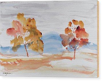 Windy Autumn Colours  Wood Print