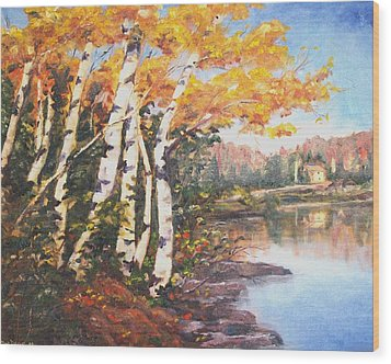 Wood Print featuring the painting Windy Birches by Diane Daigle