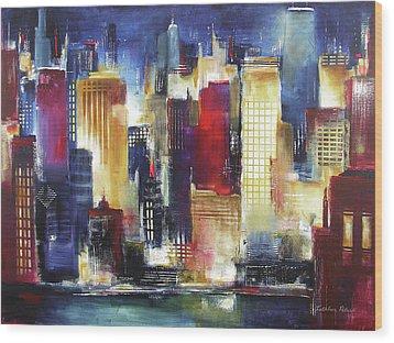 Windy City Nights Wood Print