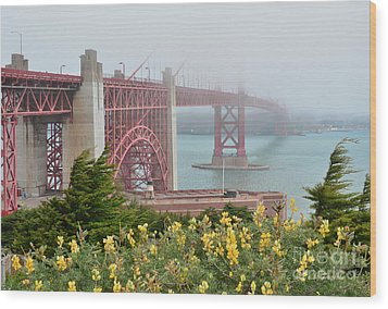 Windy Foggy Golden Gate Bridge  Wood Print