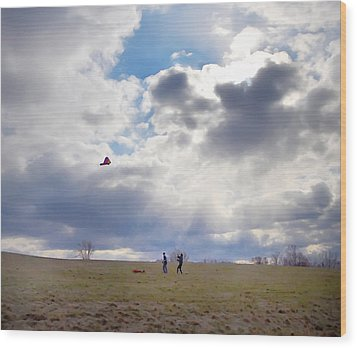 Windy Kite Day Wood Print by Bill Cannon