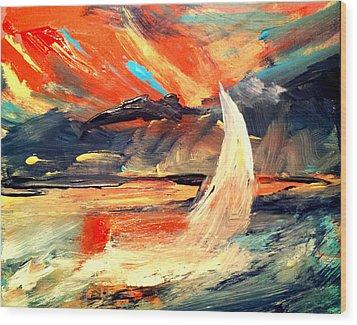 Windy Sail Wood Print