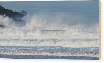 Wood Print featuring the photograph Windy Seas In Cornwall by Nicholas Burningham