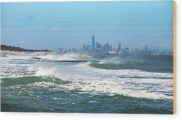 Windy View Of Nyc From Sandy Hook Nj Wood Print by Gary Slawsky