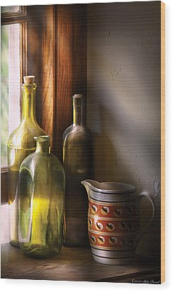 Wine - Three Bottles Wood Print by Mike Savad