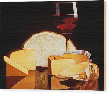 Wine And Cheese Wood Print