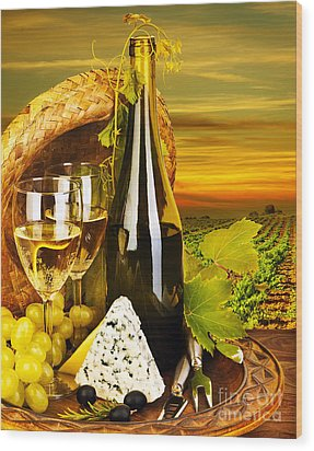 Wine And Cheese Romantic Dinner Outdoor Wood Print by Anna Om