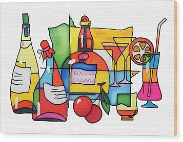 Wine And Cocktail Wood Print by Tatiana  Antsiferova