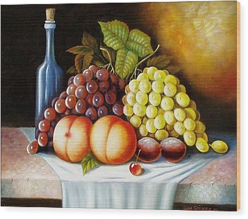 Wood Print featuring the painting Wine And Dine by Gene Gregory