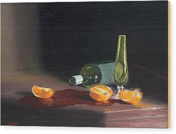 Wine And Oranges Wood Print by Greg Clibon
