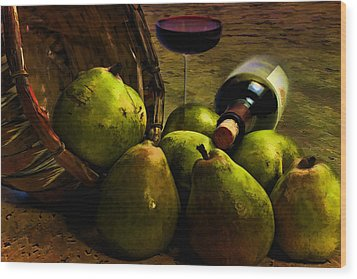 Wood Print featuring the photograph Wine And Pears by Gary Smith