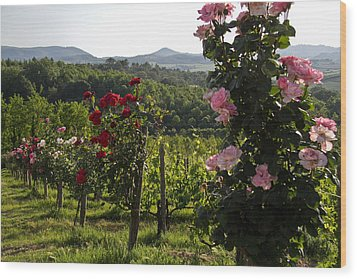 Wine And Roses Wood Print by Roger Mullenhour