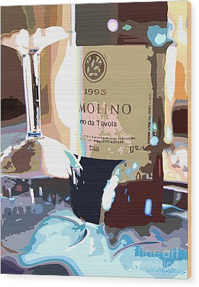 Wine And Two Glasses Wood Print by David Lloyd Glover