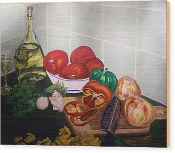 Wine And Veggies Wood Print