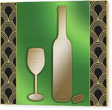 Wood Print featuring the digital art Wine Bottle And Glass - Chuck Staley by Chuck Staley
