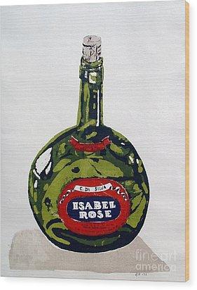 Wine Bottle Wood Print by Ron Bissett