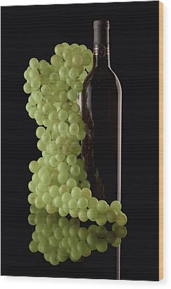 Wine Bottle With Grapes Wood Print by Tom Mc Nemar