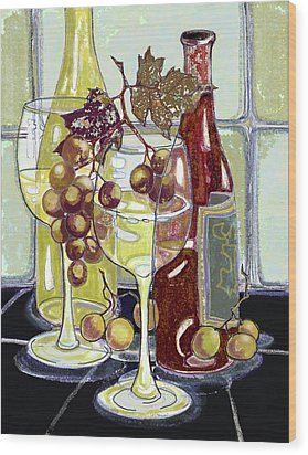 Wine Bottles Grapes And Glasses Wood Print by Peggy Wilson